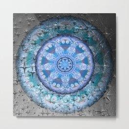 Anasazi Texture Medallion Clay Texture Mandala Metal Print