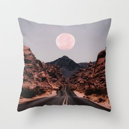 Road Red Moon Throw Pillow
