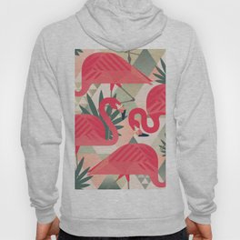 Retro Flamingo Patter Hoody
