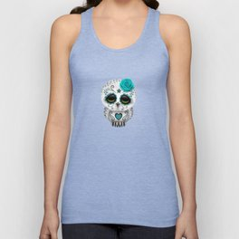 Adorable Teal Blue Day of the Dead Sugar Skull Owl Unisex Tank Top