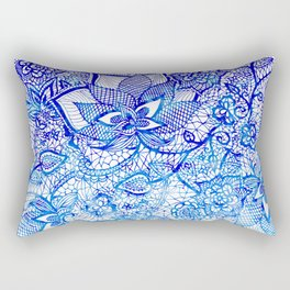 Modern china blue ombre watercolor floral lace hand drawn illustration Rectangular Pillow