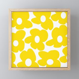 Large Yellow Retro Flowers on White Background #decor #society6 #buyart Framed Mini Art Print