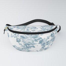Vintage blue white bohemian elegant floral Fanny Pack