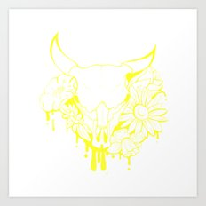 Flower Power Skull Art Print