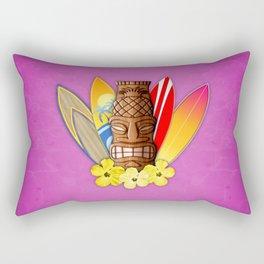 Surfboards And Tiki Mask Pink Rectangular Pillow