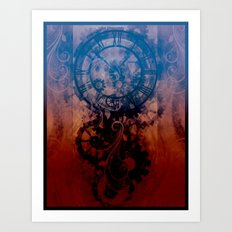 Steampunk clock Art Print