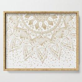 Elegant Gold Mandala Confetti Design Serving Tray