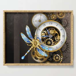 Dials with Dragonfly ( Steampunk ) Serving Tray