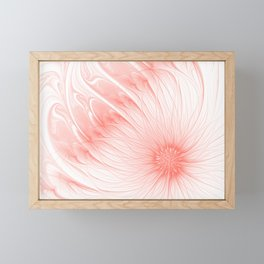 Pastel Living Coral Flower Trendy color Abstract Pink Peachy Orange Daisy Fractal Art Framed Mini Art Print