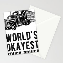 World's Okayest Truck Driver Funny Semi Truck Driver Hauling Stationery Cards