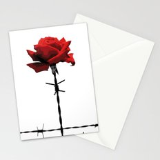 Barbed wire red rose Stationery Cards