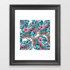 Boho turquoise pink floral watercolor illustration Framed Art Print