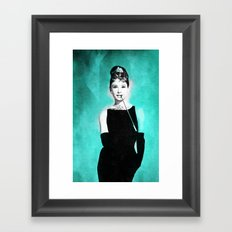Audrey Hepburn in a Tiffany collection Framed Art Print