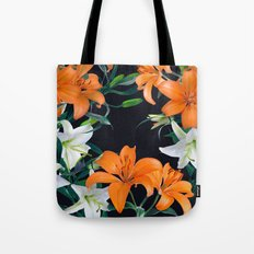 Tropical Lilies on Black Tote Bag