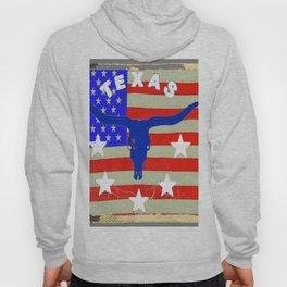 Western Patriotic Texas Longhorn Logo Pattern Art Hoody