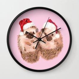 Christmas Twin Hedgehoge in Pink Wall Clock