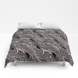 paisley wave in black and white Comforters