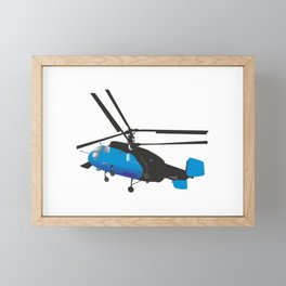 Black and Blue Helicopter Framed Mini Art Print