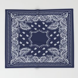 Bandana - Navy Blue - Boho Throw Blanket