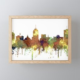 Fresno, California Skyline SG - Safari Buff Framed Mini Art Print