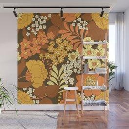 Brown, Yellow, Orange & Ivory Retro Flowers Wall Mural