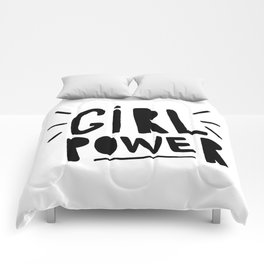 Girl power - Hand lettered Typography  Comforters