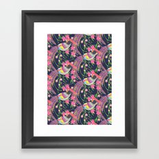 Paper Cut Birds [dark] Framed Art Print