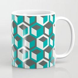Retro Bauhaus Teal Hexagons Coffee Mug