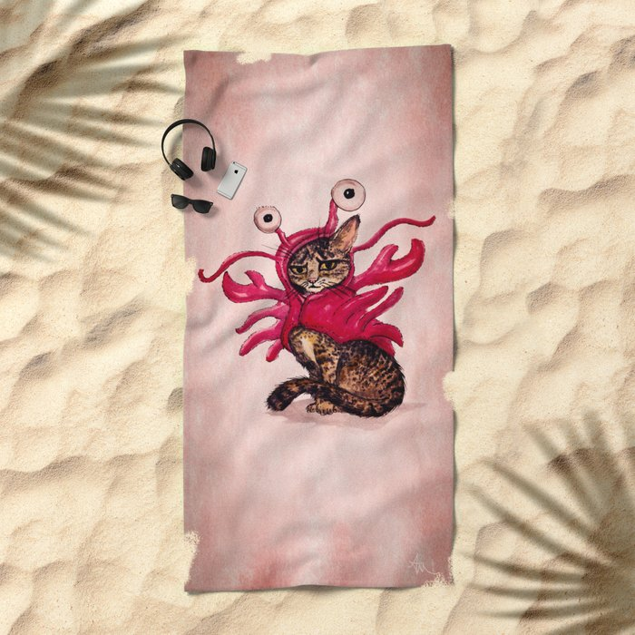 """Ma'ama Lisa"" by Amber Marine ~ Lobster Cat, Watercolor and Ink, (c) 2015 Beach Towel"
