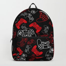 Video Games Red on Black Backpack
