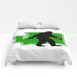 Bigfoot walk in Washington Comforters