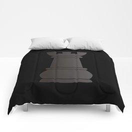 Black rock chess piece Comforters