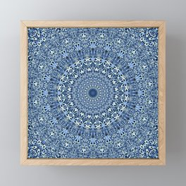 Light Blue Floral Mandala Framed Mini Art Print