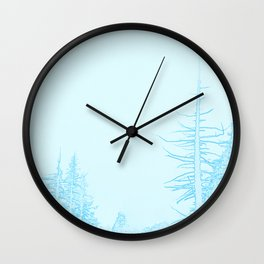 Icy forest in ice blue Wall Clock