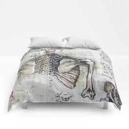 Leonardo Da Vinci human body sketches - skeleton Comforters