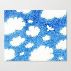 Seagull in the sky Canvas Print