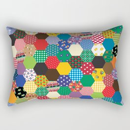 Hexagonal Patchwork Rectangular Pillow