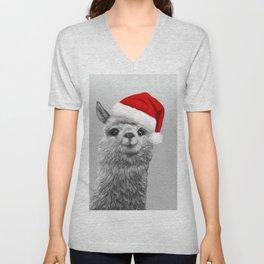 cute Alpaca with a big Christmas hat Unisex V-Neck