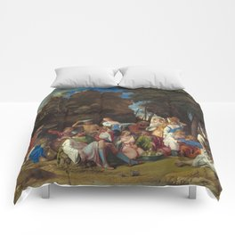 The Feast of the Gods Painting by Giovanni Bellini and Titian Comforters