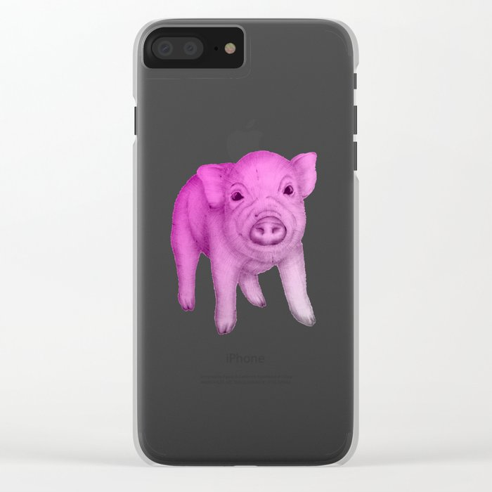 Piggy in Pink Clear iPhone Case