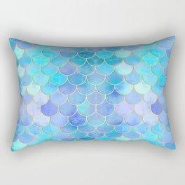 Aqua Pearlescent & Gold Mermaid Scale Pattern Rectangular Pillow