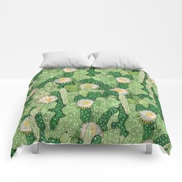 Cacti Camouflage, Green and White Comforters