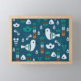 Little birds, flowers and fruits Framed Mini Art Print