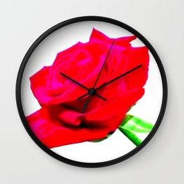 Single red rose flower Wall Clock