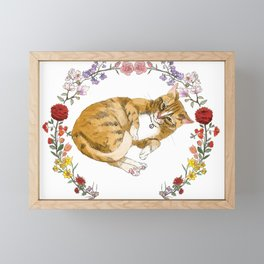 Bon the Cat in Floral Wreath Framed Mini Art Print