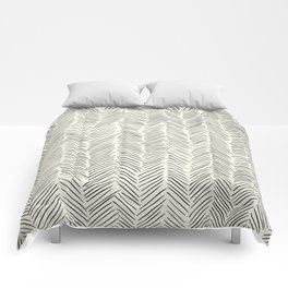Herringbone Black on Cream Comforters