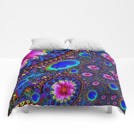 BOHEMIAN BLUE GYPSY PEACOCK FUCHSIA FLORAL Comforters