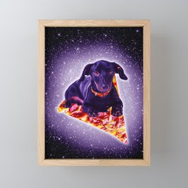 Outer Space Galaxy Dog Riding Pizza Framed Mini Art Print