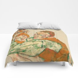 """Egon Schiele """"Lovemaking"""" Comforters"""