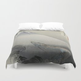 Dragon Rising to the Heavens at Mount Fuji by Ogata Gekko Duvet Cover